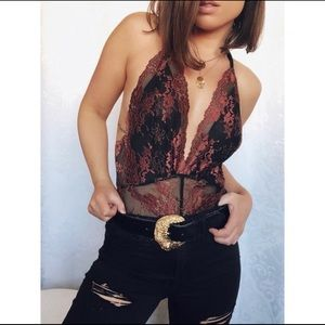Sexy Lace Black & Brown Adjustable Bodysuit